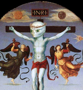 "Raphael's ""Mond Crucifixion"" painting is modified to show an alien-headed Jesus on the cross"