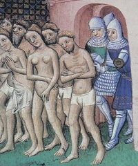 Naked Cathars are expelled from a castle door by knights