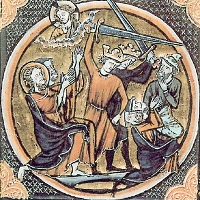 Two men wearing crowns swing swords toward kneeling men