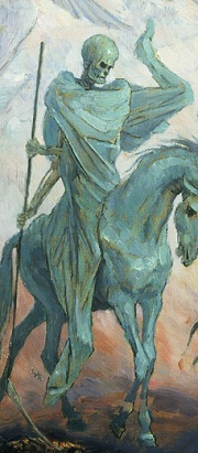 The pale figure of Death rides a pale horse and holds a scythe