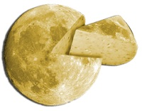 A moon made of cheese is cut, and a wedge is pulled away