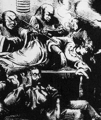 A woman lies comatose in an opium den