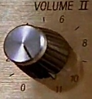 An amplifier dial has volume numbers from 0 to 10 but it goes beyond to 11 (Spinal Tap)